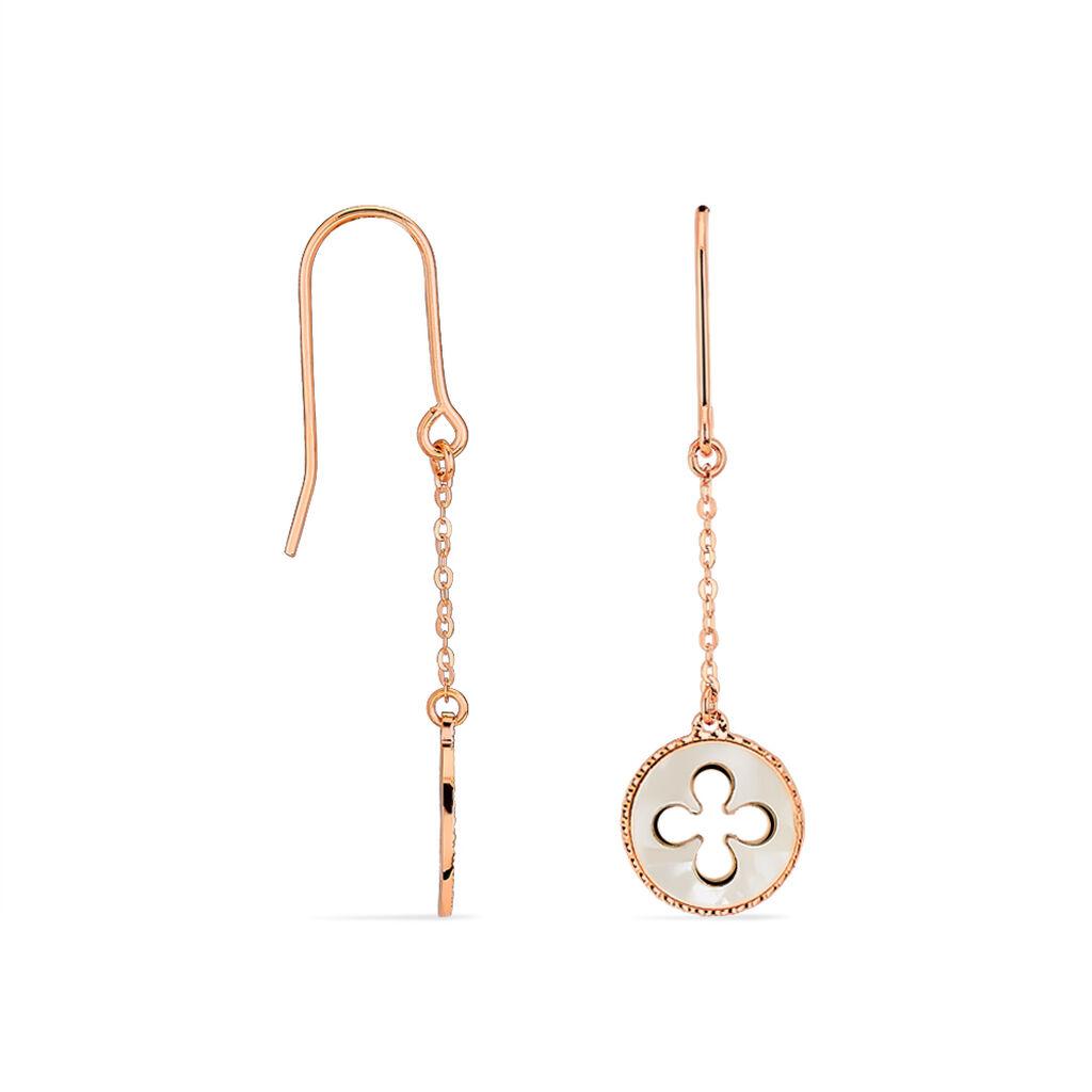 Boucles D'oreilles Pendantes Or Rose - Boucles d'Oreilles Trèfle Femme   Histoire d'Or