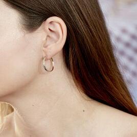 Créoles Abella Diamantee Fil Plat Or Bicolore - Boucles d'oreilles créoles Femme   Histoire d'Or