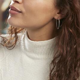 Créoles Adyson Effet Perle Argent Blanc - Boucles d'oreilles créoles Femme   Histoire d'Or