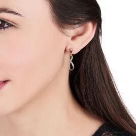 Boucles D'oreilles Pendantes Dunya Plaque Or Jaune Oxyde De Zirconium - Boucles d'Oreilles Infini Femme | Histoire d'Or