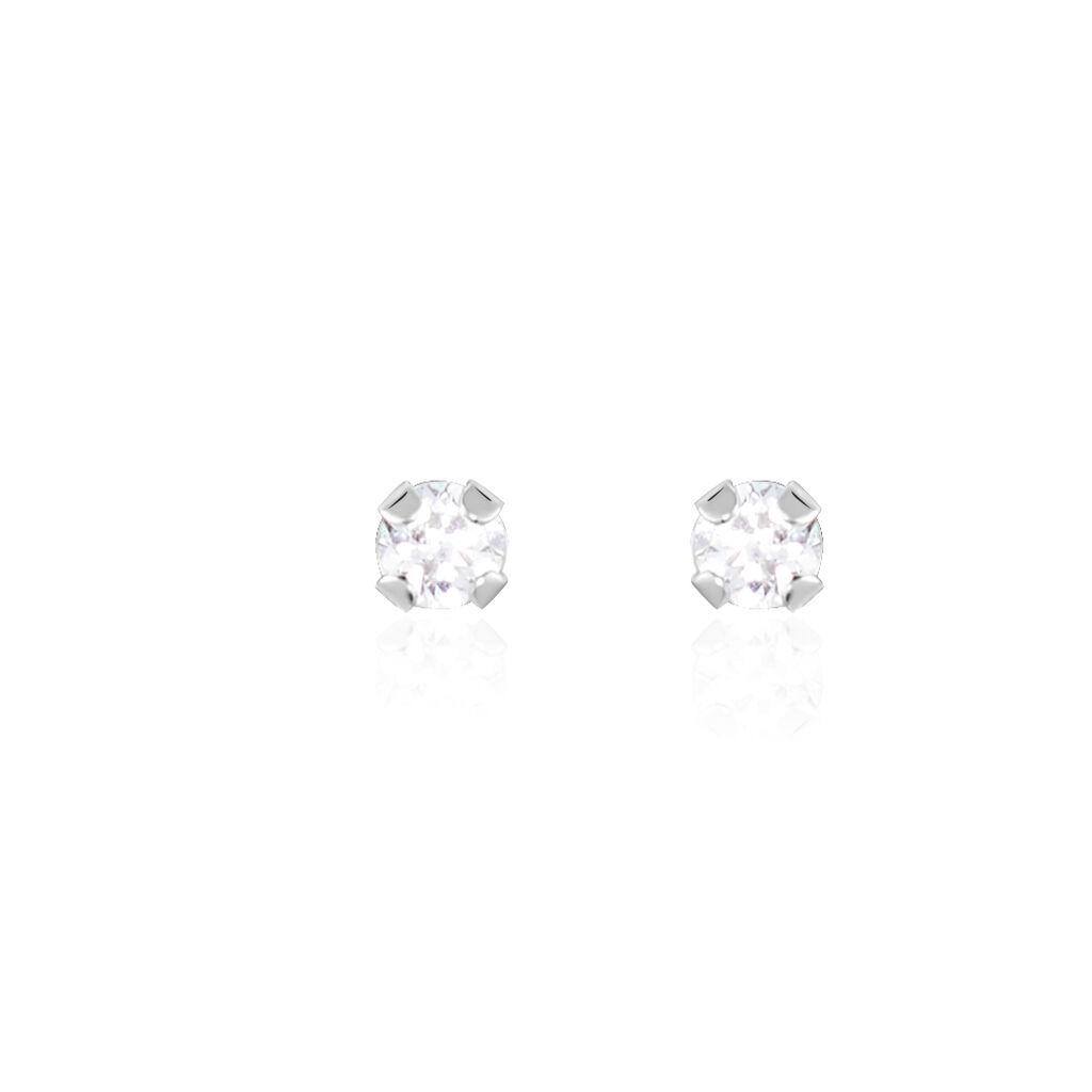 Boucles D'oreilles Puces Eddie Or Blanc Oxyde De Zirconium - Clous d'oreilles Femme | Histoire d'Or