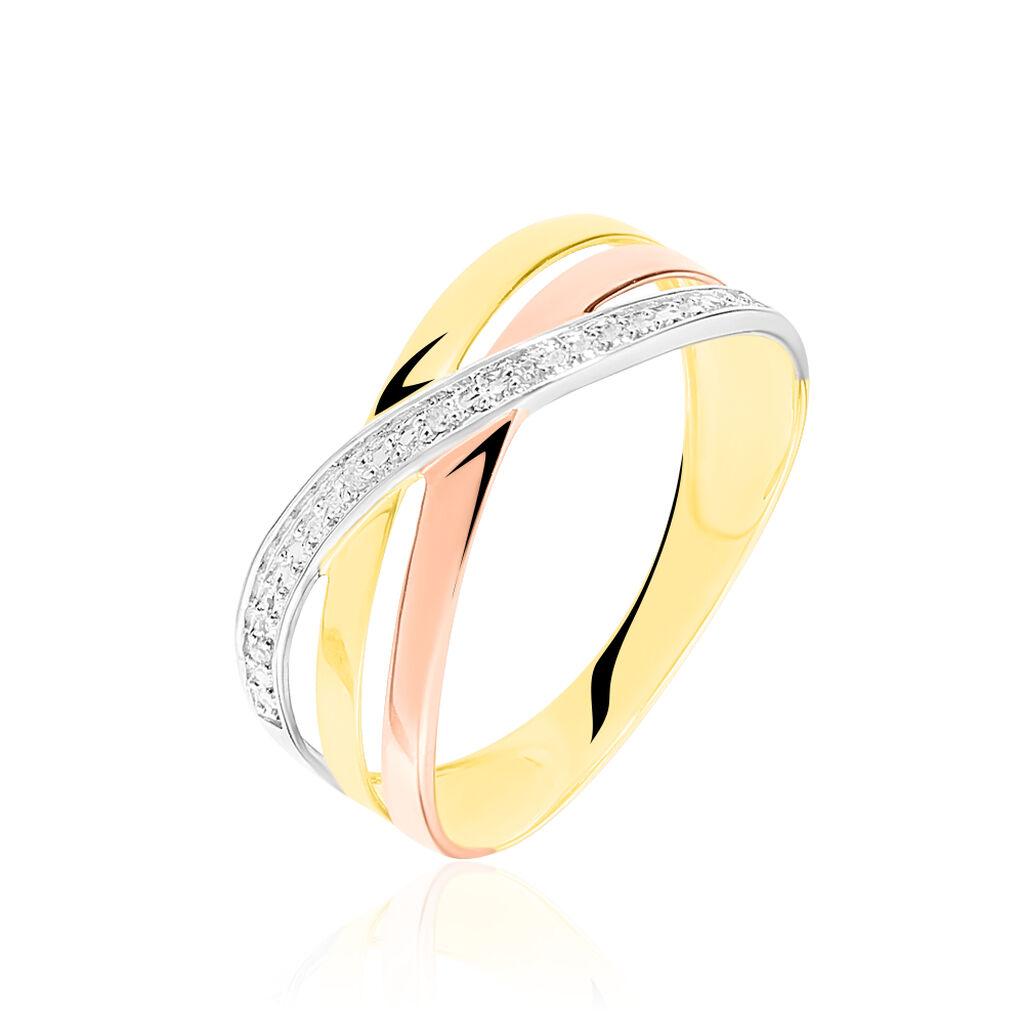 Bague Croisee Or Tricolore Diamant - Bagues avec pierre Femme | Histoire d'Or