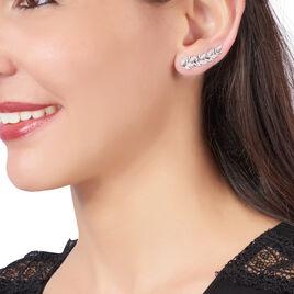 Boucles D'oreilles Pendantes Cesarine Argent Blanc Oxyde De Zirconium - Boucles d'Oreilles Plume Femme | Histoire d'Or