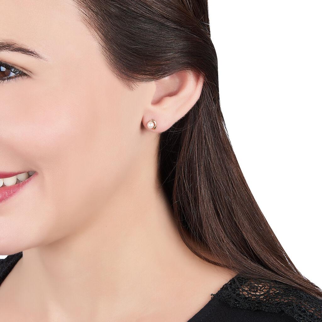 Boucles D'oreilles Puces Odelle Or Jaune Perle De Culture - Clous d'oreilles Femme | Histoire d'Or