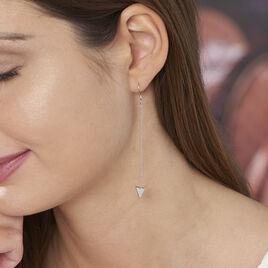 Boucles D'oreilles Pendantes Jane Argent Blanc - Boucles d'oreilles fantaisie Femme | Histoire d'Or