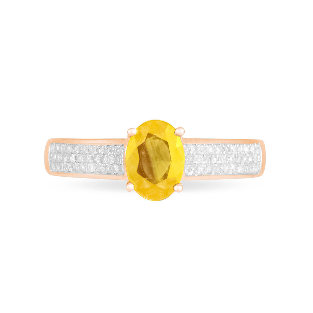 Bague Crista Or Rose Citrine Et Diamant