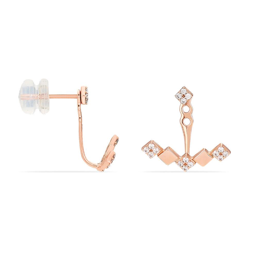 Bijoux D'oreilles Tonia Or Rose Oxyde De Zirconium - Boucles d'Oreilles Plume Femme | Histoire d'Or