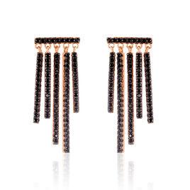 Boucles D'oreilles Pendantes Katelle Argent Rose Oxyde De Zirconium - Boucles d'oreilles pendantes Femme | Histoire d'Or