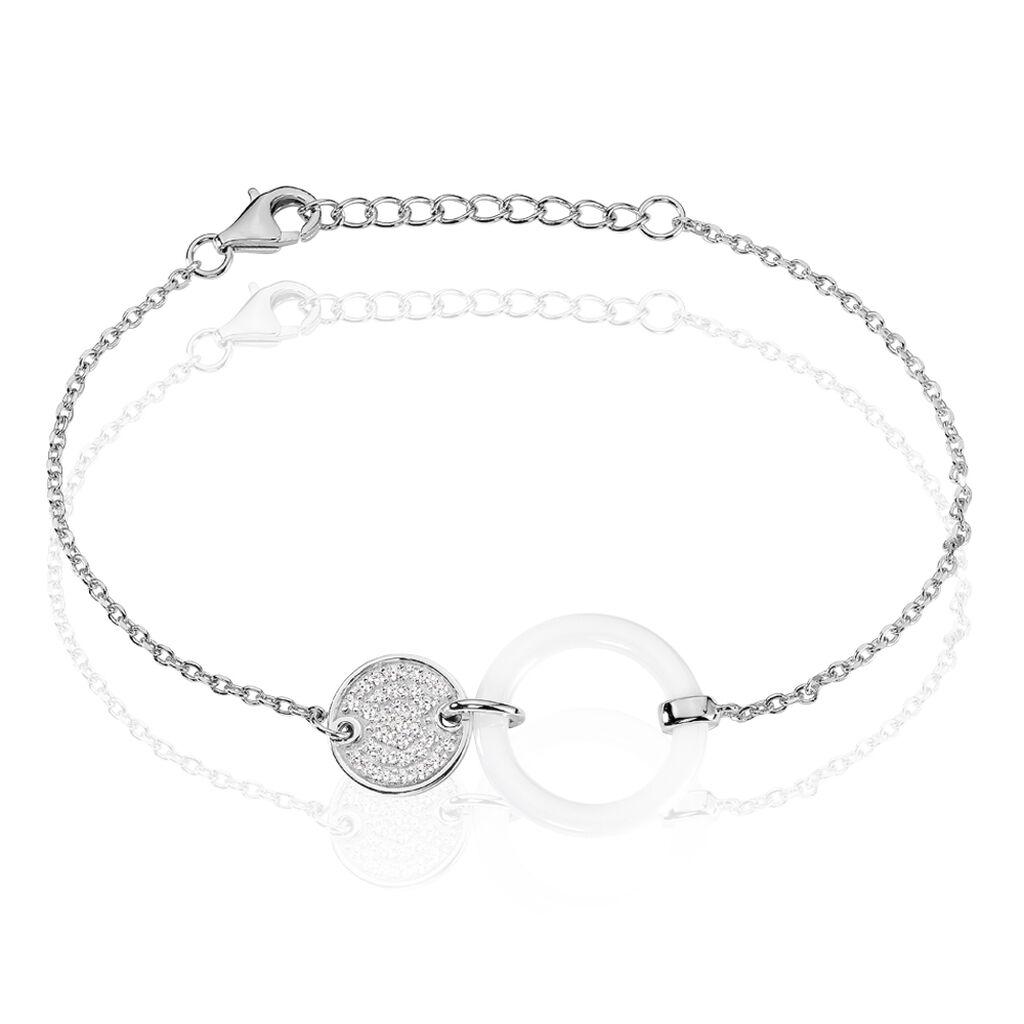 Bracelet Issara Argent Blanc Céramique Et Oxyde De Zirconium - Bracelets fantaisie Femme | Histoire d'Or