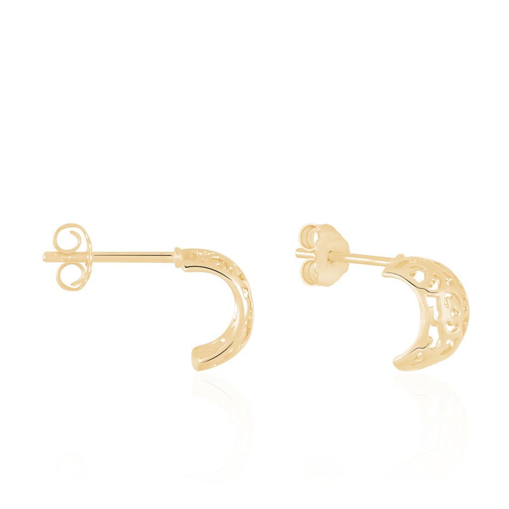 Créoles Cyrinne Plaque Or Jaune - Boucles d'oreilles créoles Femme | Histoire d'Or