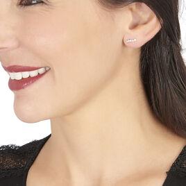 Boucles D'oreilles Puces Dahina Or Blanc Oxyde De Zirconium - Clous d'oreilles Femme   Histoire d'Or