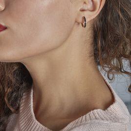 Créoles Mondy Argent Rhodie Oxydes De Zirconium - Boucles d'oreilles créoles Femme   Histoire d'Or