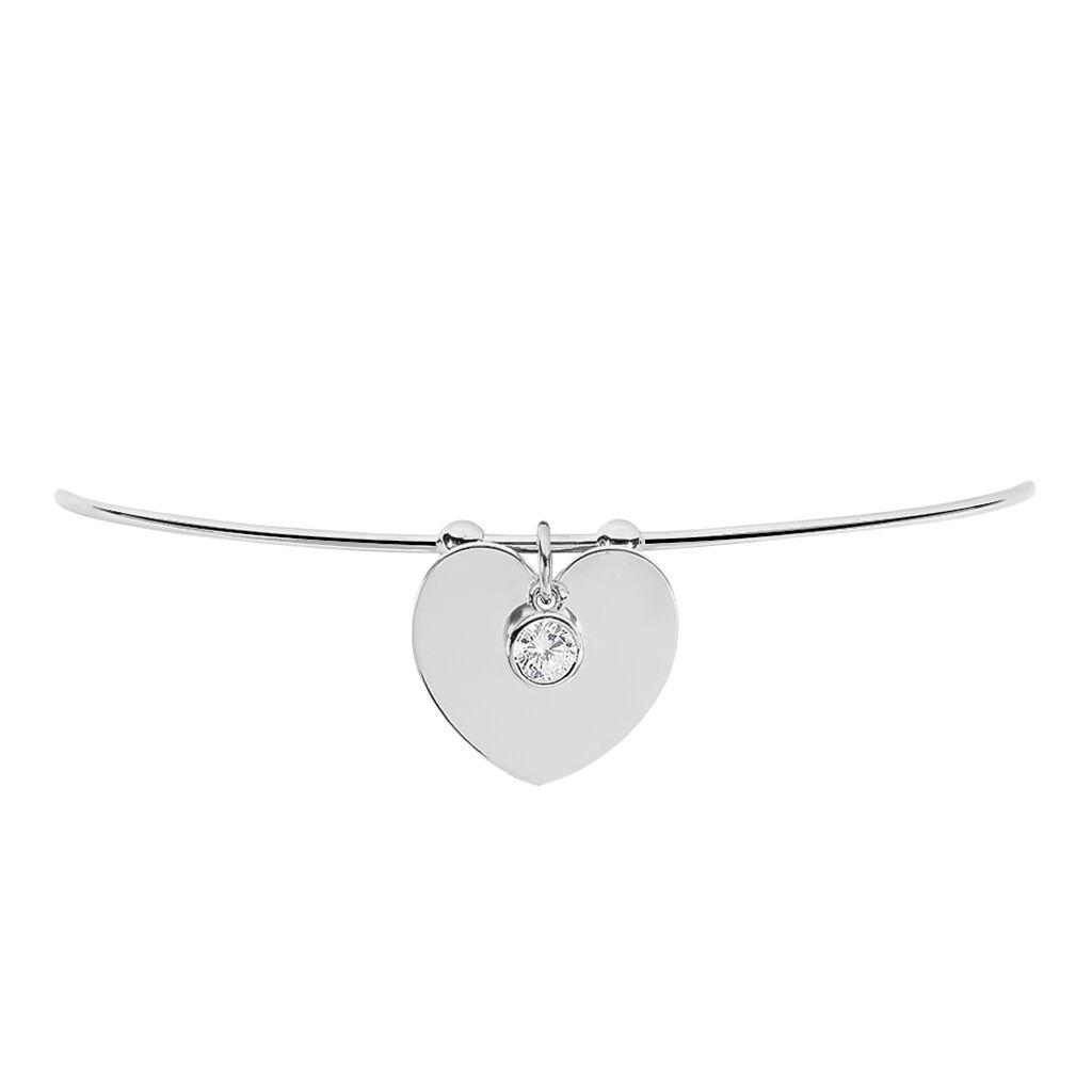 Bracelet Jonc Paula Argent Blanc Oxyde De Zirconium - Bracelets Coeur Femme   Histoire d'Or