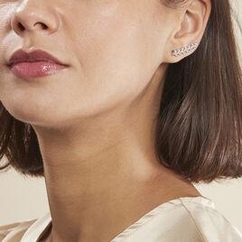 Bijoux D'oreilles Folia Argent Blanc - Boucles d'Oreilles Plume Femme | Histoire d'Or
