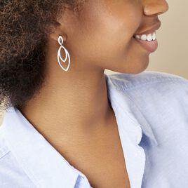 Boucles D'oreilles Pendantes Toupie Argent Blanc - Boucles d'oreilles fantaisie Femme | Histoire d'Or