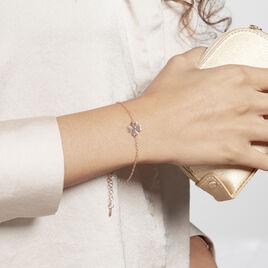 Bracelet Argent Rose Naomie - Bracelets Trèfle Femme   Histoire d'Or