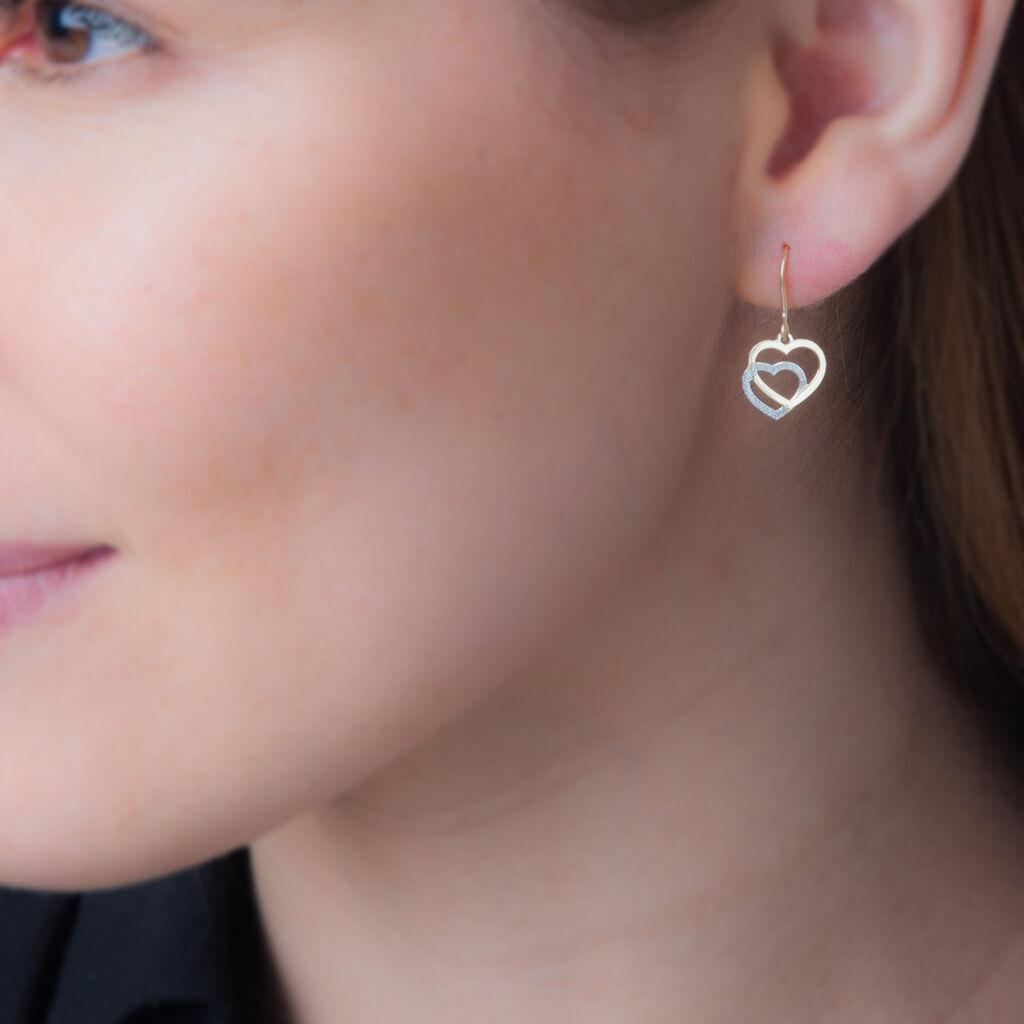 Boucles D'oreilles Pendantes Double Coeur Satines Or Bicolore - Boucles d'Oreilles Coeur Femme | Histoire d'Or