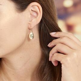 Boucles D'oreilles Pendantes Caterin Plaque Or Jaune Aventurine - Boucles d'oreilles fantaisie Femme | Histoire d'Or