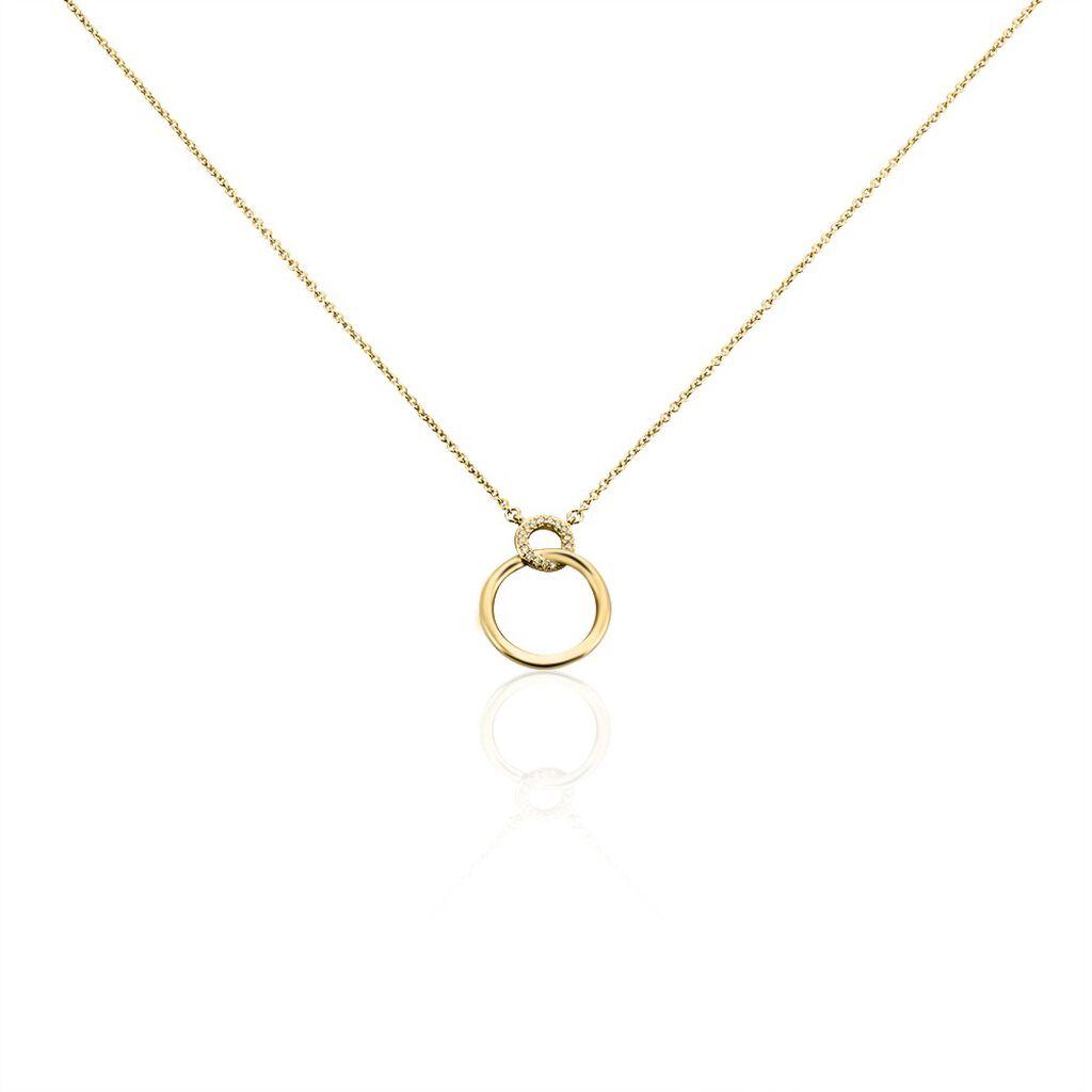 Collier Essia Plaque Or Jaune Oxyde De Zirconium - Colliers fantaisie Femme   Histoire d'Or