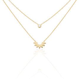 Collier Varia Plaque Or Jaune Oxyde De Zirconium - Colliers double et triple chaines Femme | Histoire d'Or