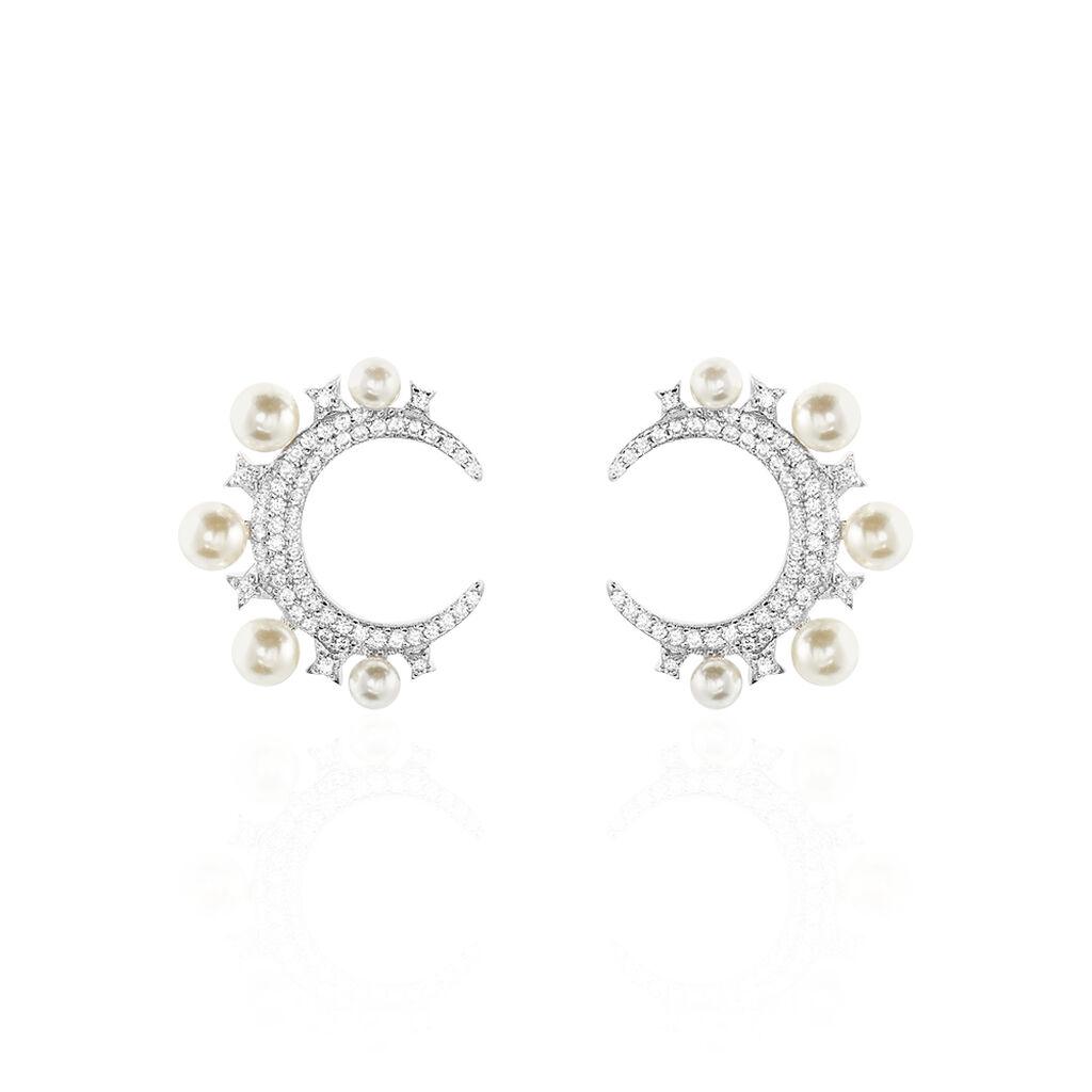 Boucles D'oreilles Puces Moon Argent Perle D'imitation Et Oxyde - Boucles d'Oreilles Lune Femme   Histoire d'Or