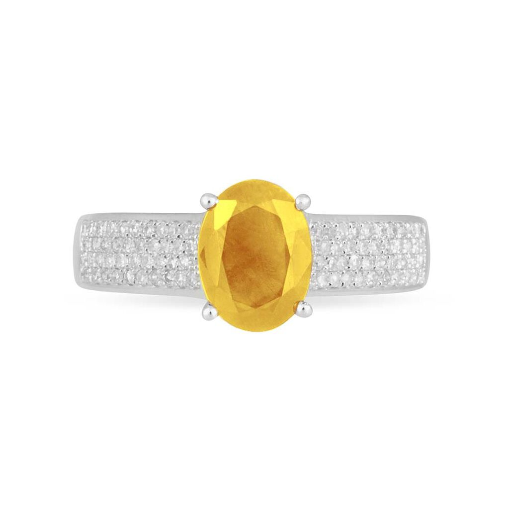 Bague Crista Or Blanc Citrine Et Diamant