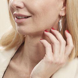 Boucles D'oreilles Pendantes Salaya Acier Blanc - Boucles d'Oreilles Plume Femme | Histoire d'Or