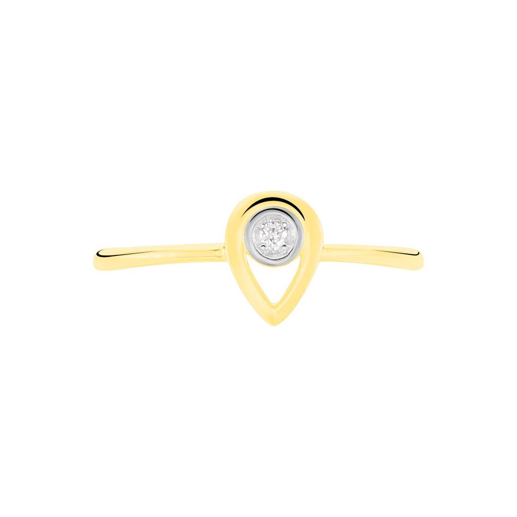 Bague Fidelia Or Jaune Diamant - Bagues avec pierre Femme   Histoire d'Or