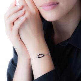 Bracelet Greta Argent Blanc Céramique Et Oxyde De Zirconium - Bracelets fantaisie Femme   Histoire d'Or
