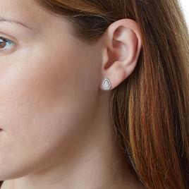 Boucles D'oreilles Puces Izia Or Blanc Diamant - Clous d'oreilles Femme | Histoire d'Or
