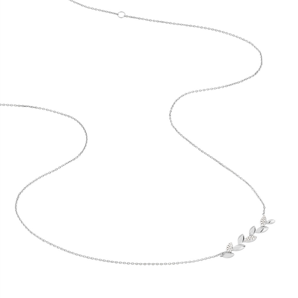 Collier Anthea Or Blanc Diamant - Colliers Plume Femme   Histoire d'Or