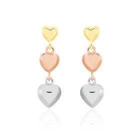 Boucles D'oreilles Pendantes Anne-maudae Pendantes Coeurs Or Tricolore - Boucles d'Oreilles Coeur Unisexe | Histoire d'Or