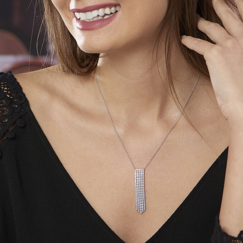 Collier Corine Argent Blanc Oxyde De Zirconium - Bijoux Femme | Histoire d'Or
