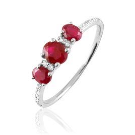 Bague Elbira Or Blanc Rubis Et Diamant - Bagues avec pierre Femme | Histoire d'Or