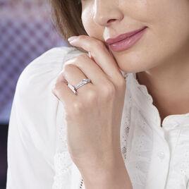 Bague Solitaire Ceridwen 3 Rangs Or Blanc Oxyde De Zirconium - Bagues solitaires Femme | Histoire d'Or