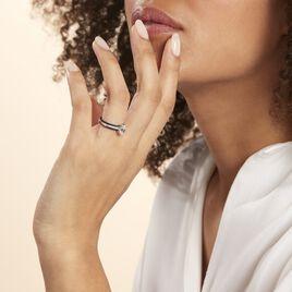 Bague Solitaire  Argent Rhodie Céramique Et Oxyde De Zirconium - Bagues solitaires Femme | Histoire d'Or