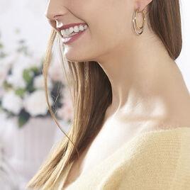 Créoles Adisson Acier Bicolore - Boucles d'oreilles créoles Femme | Histoire d'Or
