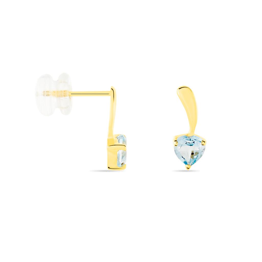 Boucles D'oreilles Puces Salona Or Jaune Topaze - Boucles d'Oreilles Coeur Femme   Histoire d'Or