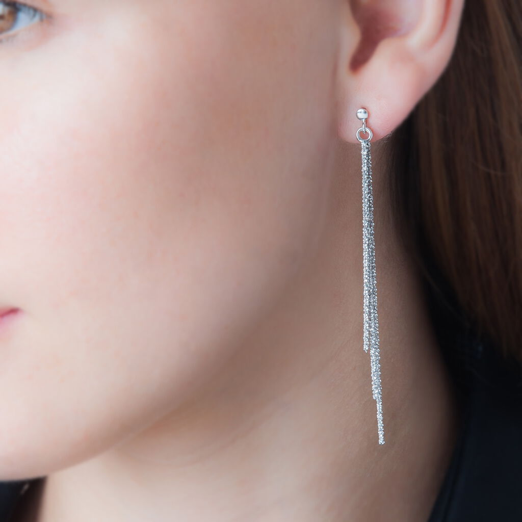 Boucles D'oreilles Pendantes Yalle Argent Blanc - Boucles d'oreilles fantaisie Femme | Histoire d'Or