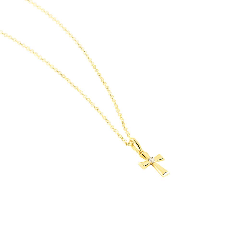 Collier Cobeia Or Jaune Oxyde De Zirconium - Colliers Croix Femme   Histoire d'Or