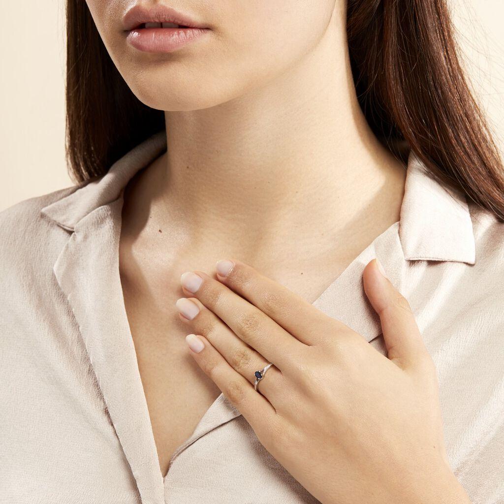 Bague Charmante Or Blanc Saphir Et Diamant - Bagues solitaires Femme | Histoire d'Or