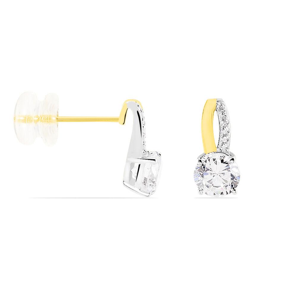 Boucles D'oreilles Pendantes Ofelie Or Jaune Oxyde De Zirconium - Boucles d'Oreilles Plume Femme | Histoire d'Or