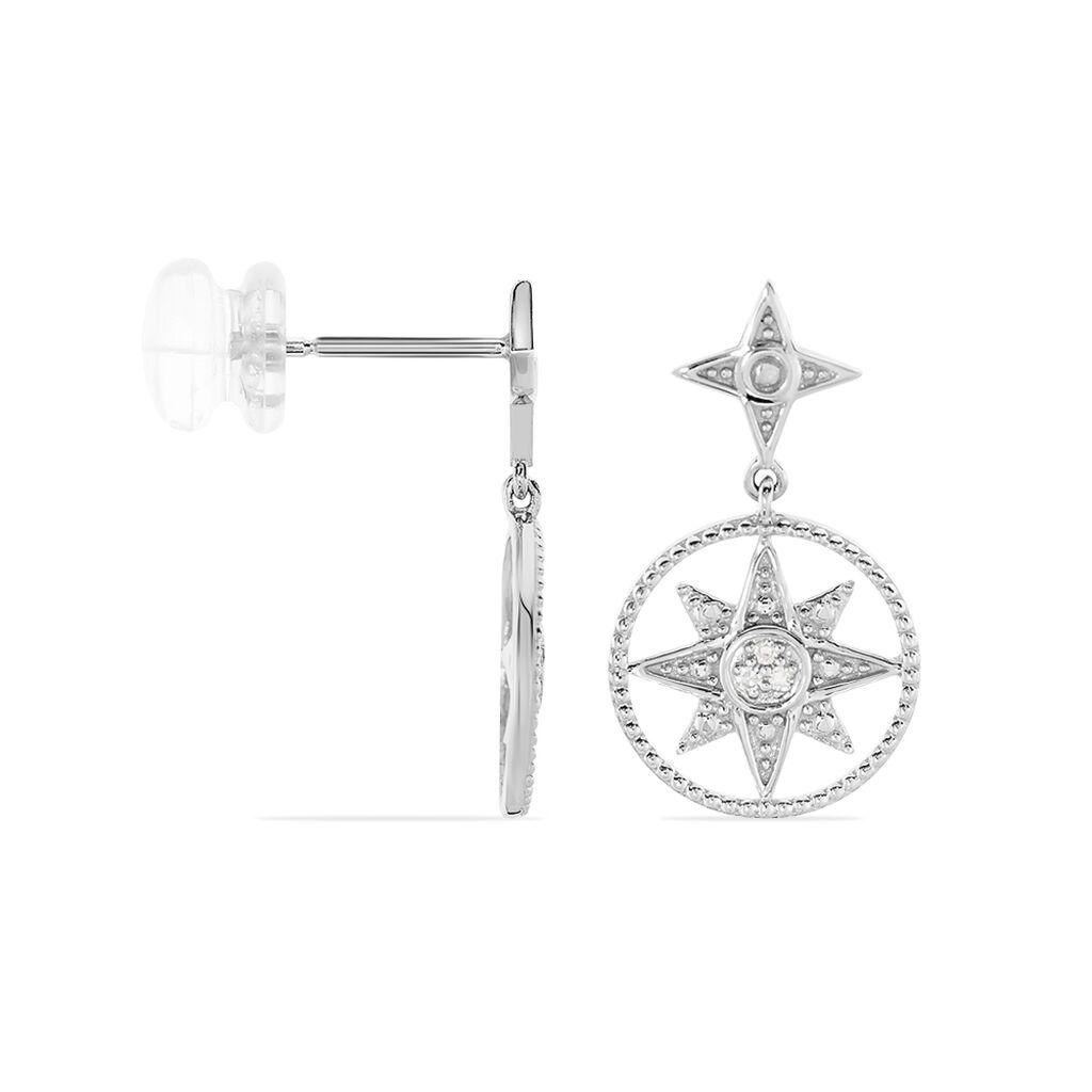 Boucles D'oreilles Pendantes Roanna Or Blanc Diamant - Boucles d'Oreilles Etoile Femme   Histoire d'Or