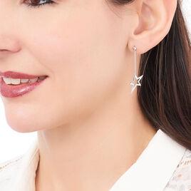 Boucles D'oreilles Pendantes Eloisa Argent Blanc - Boucles d'Oreilles Etoile Femme | Histoire d'Or