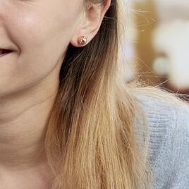 Boucles D'oreilles Puces Fidelia Boule Or Rose - Clous d'oreilles Femme   Histoire d'Or