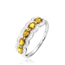 Bague Or Blanc Margaux Citrines - Bagues avec pierre Femme | Histoire d'Or