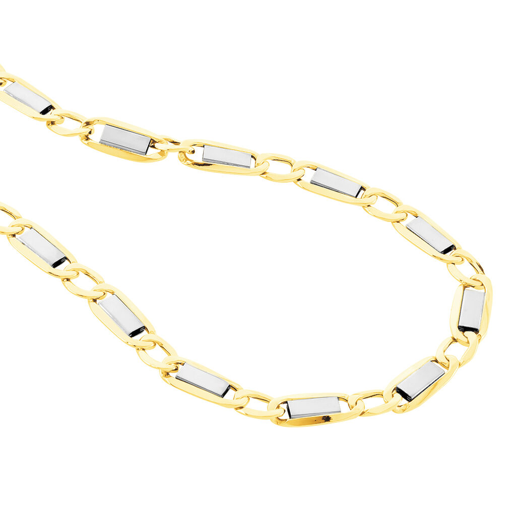 Chaîne Danae Maille Plaquette Alternee 1/1 Or Bicolore - Chaines Homme | Histoire d'Or