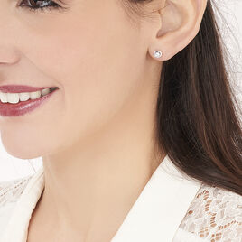 Boucles D'oreilles Puces Stelila Or Blanc Oxyde De Zirconium - Clous d'oreilles Femme   Histoire d'Or