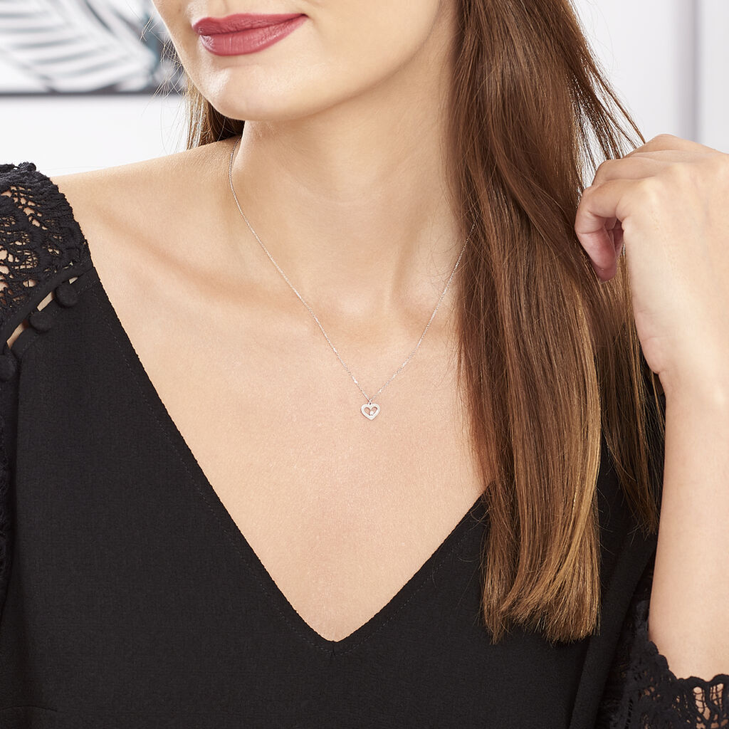 Collier Sweet Heart Or Blanc Diamant - Colliers Coeur Femme | Histoire d'Or