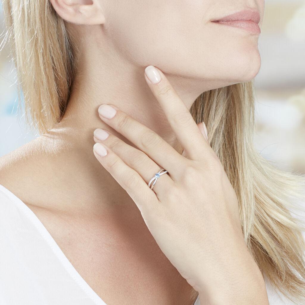 Bague Bertheline Argent Blanc Oxyde De Zirconium - Bagues solitaires Femme   Histoire d'Or